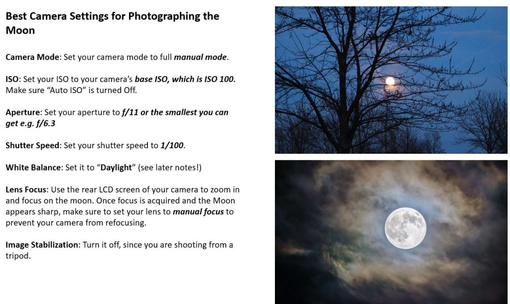 Screenshot of part of an interactive photography lesson on photographing the moon